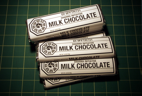 Lost-/Insanely Great Tee's-inspired chocolate bar labels