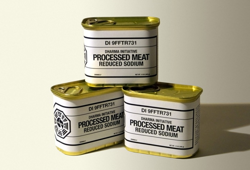 Photo of cans of DHARMA Initiative Processed Meat